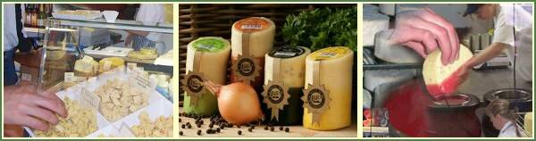 a selection of the famous round waxed cheddar cheeses with irresistible aromas